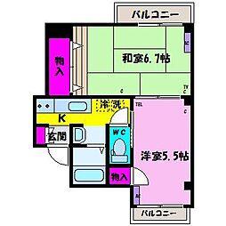 廣瀬ハイツ[3-A号室]の間取り