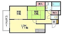 エレガント鬼塚6[1階]の間取り