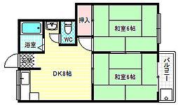 吉田マンション 3階2DKの間取り