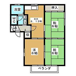 エステート輝B[1階]の間取り