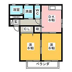 エスポワール鷹之巣 C[2階]の間取り