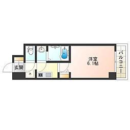 近鉄南大阪線 河堀口駅 徒歩5分の賃貸マンション 6階1Kの間取り