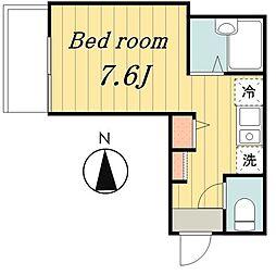 東京メトロ千代田線 北綾瀬駅 徒歩15分の賃貸アパート 1階ワンルームの間取り