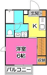 ベレオ喜多[2階]の間取り