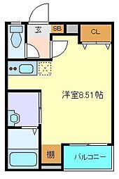仙台市営南北線 愛宕橋駅 徒歩8分の賃貸アパート 1階ワンルームの間取り