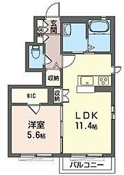 シャーメゾン宮前B[1階]の間取り