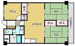 大阪府茨木市白川3丁目の賃貸マンションの間取り