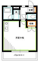 西武国分寺線 恋ヶ窪駅 徒歩6分の賃貸アパート 1階ワンルームの間取り