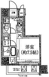 クラリッサ川崎ブルーノ 2階ワンルームの間取り
