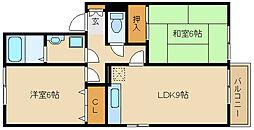 兵庫県尼崎市小中島1丁目の賃貸アパートの間取り