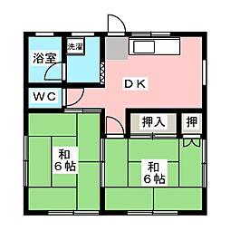 設楽荘 2階2DKの間取り