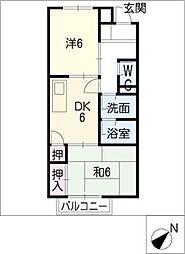 サープラスツー西富田[1階]の間取り