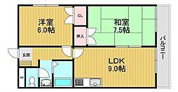 大発マンション 3階2DKの間取り
