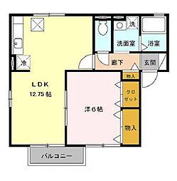 ハイツ・クレール坂東A[2階]の間取り