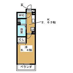 仮称 D-room金沢八景プロジェクト 2階1Kの間取り
