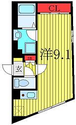 東京メトロ有楽町線 千川駅 徒歩7分の賃貸マンション 4階ワンルームの間取り