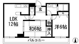 兵庫県宝塚市伊孑志3丁目の賃貸マンションの間取り