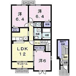 富山県富山市山室荒屋新町の賃貸アパートの間取り