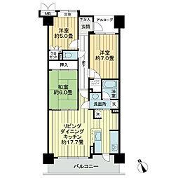 サーパス新荘[4階]の間取り