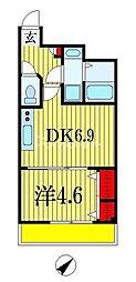 仮称)中央区弁天3丁目計画 2階1DKの間取り