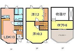 [テラスハウス] 愛知県安城市美園町2丁目 の賃貸【愛知県 / 安城市】の間取り