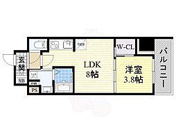 コンフォリア江坂 14階1LDKの間取り