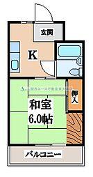 八戸ノ里グリーンハイツ[4階]の間取り
