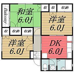 千葉県四街道市和良比の賃貸マンションの間取り