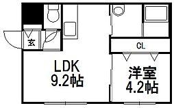 アンシャンテ手稲前田[1階]の間取り