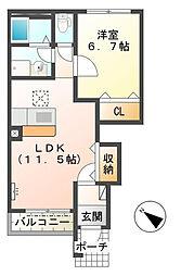 ゼルコバII[1階]の間取り