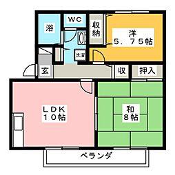 ロイヤルパーク広瀬B[2階]の間取り