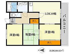 ADUKO一条池[4階]の間取り