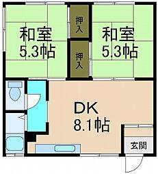 北海道小樽市桜1丁目の賃貸アパートの間取り