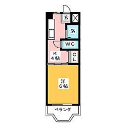 篭屋マンション[1階]の間取り