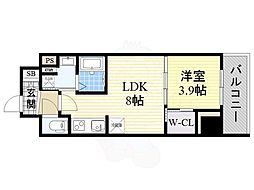 コンフォリア江坂 10階1LDKの間取り