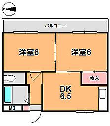 奈良県奈良市法蓮町の賃貸アパートの間取り