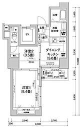 アイルプレミアム文京六義園 3階2DKの間取り