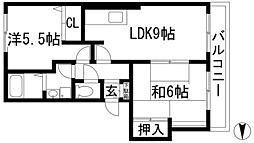 兵庫県宝塚市小林5丁目の賃貸アパートの間取り