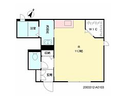 JR久大本線 久留米高校前駅 徒歩4分の賃貸アパート 1階ワンルームの間取り