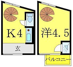 JR山手線 大塚駅 徒歩9分の賃貸マンション 2階1Kの間取り