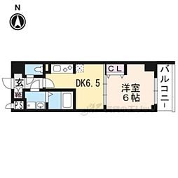 ベラジオ京都西大路ウエスト206 2階1DKの間取り