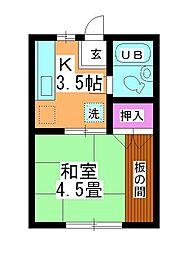 第2坂上荘[1-B号室]の間取り