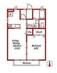 エスポアールK[1階]の間取り