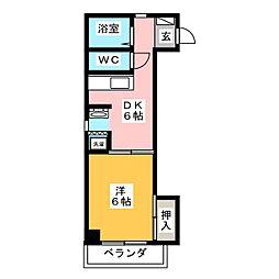 ラフォーレ岐阜 3階1DKの間取り