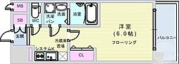 JR大阪環状線 大正駅 徒歩5分の賃貸マンション 10階1Kの間取り