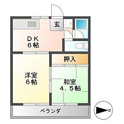 コーポ藤井[2階]の間取り