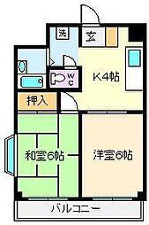 リバティハイツ平野[5階]の間取り