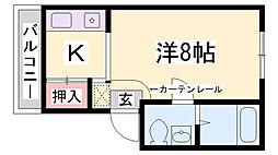 兵庫県神戸市須磨区月見山本町2丁目の賃貸アパートの間取り