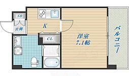 JPレジデンス大阪城東2 2階1Kの間取り