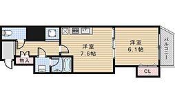 グラート西田辺[5階]の間取り